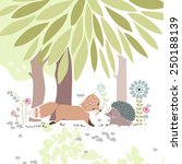 forest theme card with fox and... | Shutterstock .eps vector #250188139