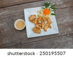 tasty dish with fried chicken... | Shutterstock . vector #250195507