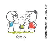happy family with dad  mom and... | Shutterstock .eps vector #250207519