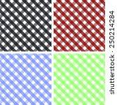 pack of 4 seamless gingham... | Shutterstock .eps vector #250214284