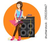 rock star female guitarist... | Shutterstock .eps vector #250220467