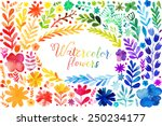 set of colorful watercolor...