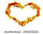 Fire Heart Shape On White...