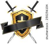 blank sword   shield banner   Shutterstock .eps vector #250256104