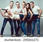 happy together concept. group...   Shutterstock . vector #250261171