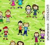 seamless cute kid cartoon... | Shutterstock .eps vector #250262245