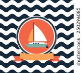 card at sea sailing yacht | Shutterstock .eps vector #250296085