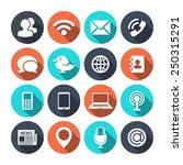 communication icons with shadow | Shutterstock . vector #250315291