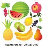 9 sweet ripe fruits and berries ...   Shutterstock .eps vector #25031995