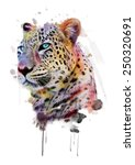 Постер, плакат: illustration leopardT shirt graphicsabstract watercolor