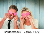 attractive young couple holding ... | Shutterstock . vector #250337479