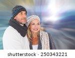happy couple in winter fashion... | Shutterstock . vector #250343221