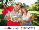 cute couple drinking white wine ... | Shutterstock . vector #250351951
