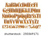 3d gold alphabet letters and... | Shutterstock . vector #250369171