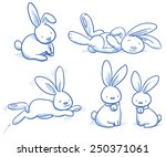Stock vector cute bunny rabbit collection in different poses for example for baby shower or easter card hand 250371061
