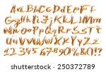 3d golden alphabets with digit... | Shutterstock . vector #250372789