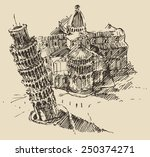 leaning tower of pisa and... | Shutterstock .eps vector #250374271