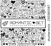 doodle set of hearts  arrows ... | Shutterstock .eps vector #250385587