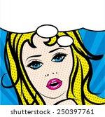pop art woman sign. vector... | Shutterstock .eps vector #250397761