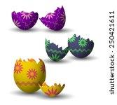 broken easter eggs collection... | Shutterstock .eps vector #250421611