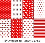 set of cute seamless big and... | Shutterstock .eps vector #250421761