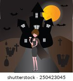 lady vampire live in front... | Shutterstock . vector #250423045