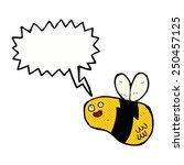cartoon bee with speech bubble | Shutterstock . vector #250457125