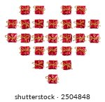 heart made of red little gifts  ... | Shutterstock . vector #2504848