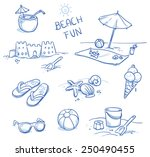 icon set summer beach holidays  ... | Shutterstock .eps vector #250490455