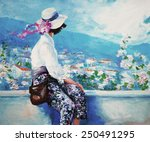 Oil Painting  Woman Sitting...