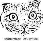 black cat face vector | Shutterstock .eps vector #250494901