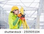 Female Surveyor Worker Working...