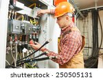 young adult electrician builder ... | Shutterstock . vector #250505131