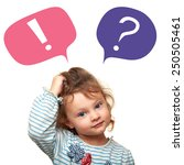 thinking cute small kid girl... | Shutterstock . vector #250505461