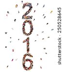 Bringing in the new year.Vertical large group of people in the shape of 2016 celebrating a new year concept on a white background - stock photo
