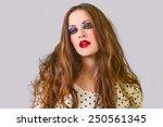beautiful brunette female with... | Shutterstock . vector #250561345