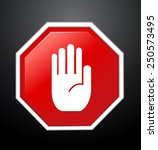 no entry hand sign on black... | Shutterstock .eps vector #250573495