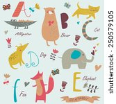 zoo alphabet with cute animals. ... | Shutterstock .eps vector #250579105