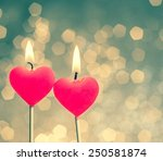 Hearts Candles On Vintage Bokeh ...
