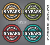 5 years warranty on green... | Shutterstock .eps vector #250601905