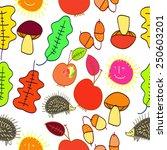 seamless pattern of autumn... | Shutterstock .eps vector #250603201