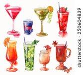 set of watercolor cocktails | Shutterstock .eps vector #250604839