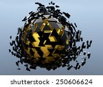 sphere shattered abstract 3d... | Shutterstock . vector #250606624