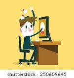 businessman saving ideas from... | Shutterstock .eps vector #250609645