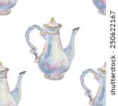 Watercolor Teapots . Vector...