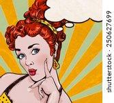 pop art illustration of woman... | Shutterstock . vector #250627699