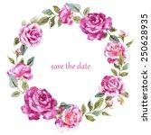 mimosa  rose  garland  frame ...   Shutterstock . vector #250628935