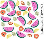 sliced fruits background.... | Shutterstock . vector #250628974