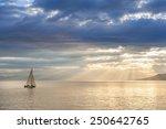 Small Boat Sailing On Leman...
