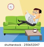 happy man lying on the couch... | Shutterstock .eps vector #250652047